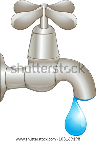 Illustration of a dripping faucet - EPS VECTOR format also available in my portfolio. - stock photo
