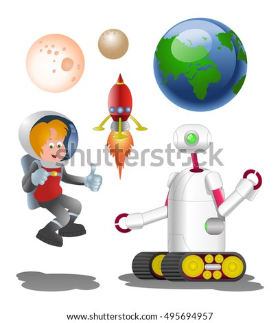 illustration of a droid robot and male astronout with planet on isolated white background