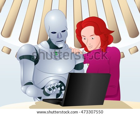illustration of a droid robot helping woman learning laptop on room background
