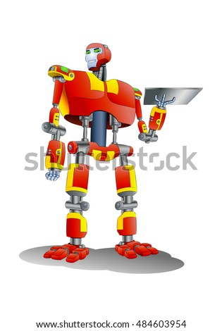 illustration of a droid robot hold metal tray on isolated white background