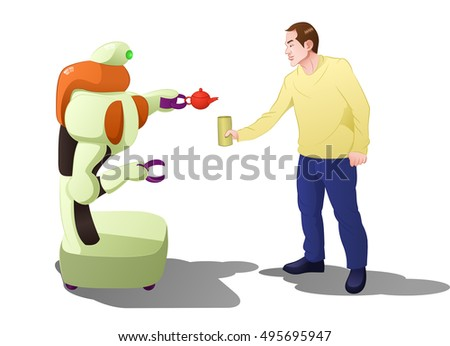 illustration of a droid robot serving drink to man on isolated white background