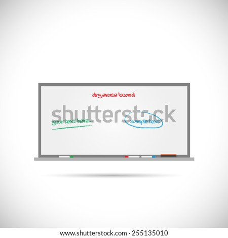 Illustration of a dry erase whiteboard isolated on a white background. - stock photo