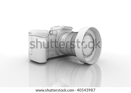 Illustration of a dslr camera on a reflective surface