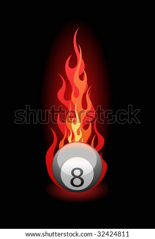 Illustration of a 'Eight' billiard ball in fire on black background. Vector in my portfolio - stock photo