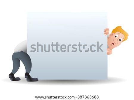 illustration of a elongated businessman behind white blank banner on isolated white background - stock photo
