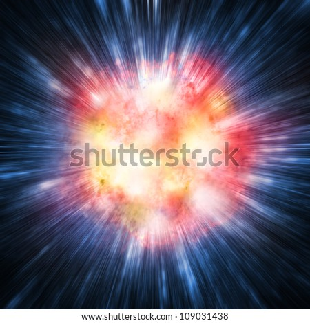 Illustration of a exploding star or planet - stock photo