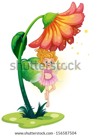 Illustration of a fairy flying under the giant flower on a white background