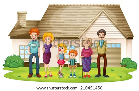 Illustration of a family outside their big house on a white background - stock photo