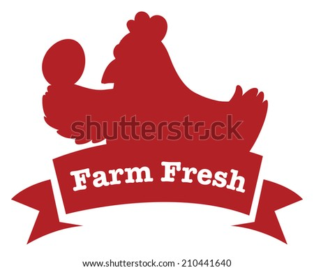 Illustration of a farm fresh label with a red chicken on a white background - stock photo
