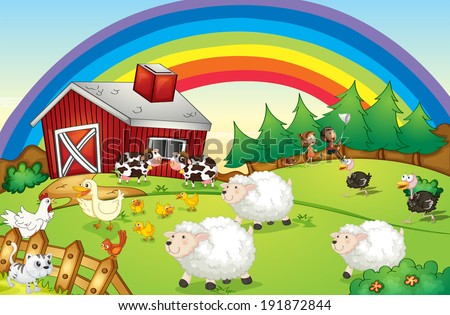 Illustration of a farm with many animals and a rainbow in the sky - stock photo