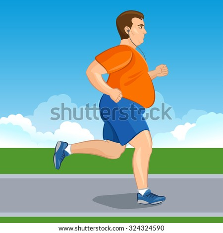 Illustration of a fat cartoon man jogging, weight loss concept, cardio training, health conscious concept running man, before and after - stock photo