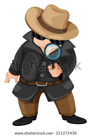 Illustration of a fat detective on a white background - stock photo