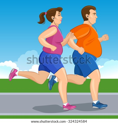 Illustration of a fat runners - couple running, health conscious concept. Sporty woman and man jogging