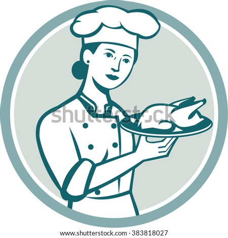 Illustration of a female chef with hat holding plate with roast chicken viewed from the front set inside circle on isolated background done in retro style.