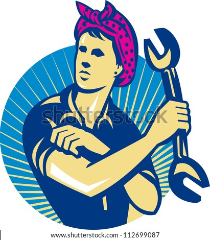Illustration of a female mechanic holding a spanner wrench flexing her muscle arm set inside circle done in retro style.