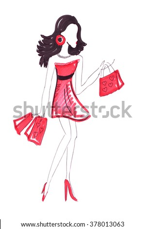 Illustration of a female with long legs and a short red dress with packages after shopping