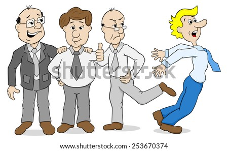 illustration of a few colleagues who bully another - stock photo