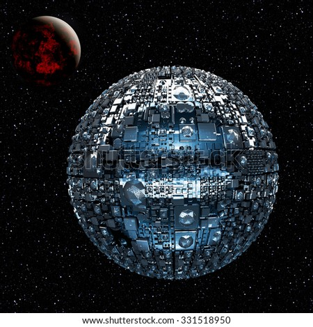 Illustration of a fictional universe with space battle ship and planets - stock photo