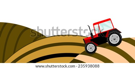 illustration of a field with red tractor. Solid fill only. - stock photo