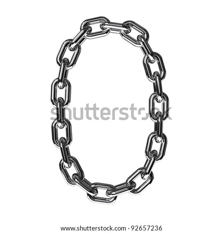 Illustration of a figure 0 from a chain on a white background