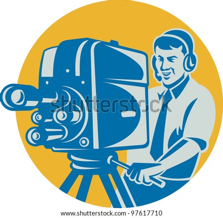 Illustration of a film crew television cameraman shooting with movie camera done in retro style set inside circle.