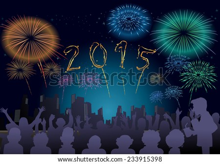 illustration of a fire work on New Year celebration night.  Happy New Year illustration for 2015 - stock photo