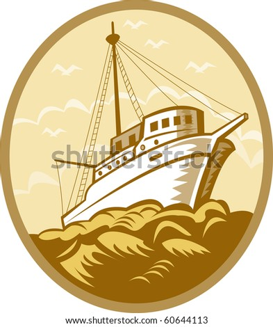 illustration of a Fishing boat viewed from low angle set inside an oval done in retro style. - stock photo