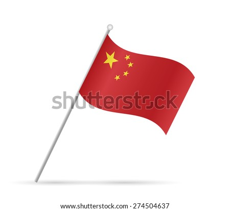 Illustration of a flag from China isolated on a white background.
