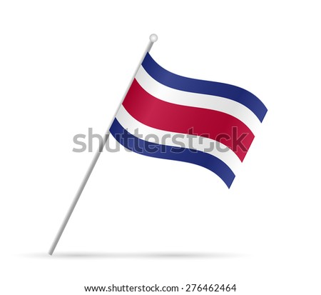 Illustration of a flag from Costa Rica isolated on a white background. - stock photo