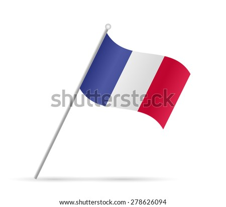 Illustration of a flag from France isolated on a white background. - stock photo