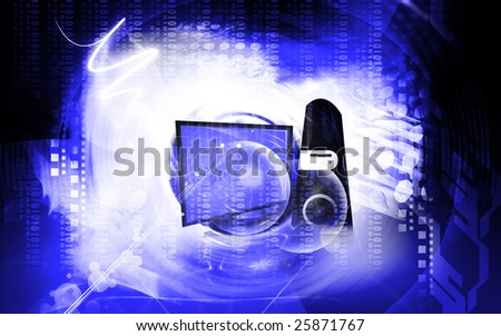Illustration of a flat screen monitor and central processing unit	 - stock photo