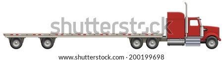 Illustration of a flatbed truck. The bed is empty and ready for your creative ideas.