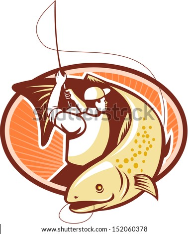 Illustration of a fly fisherman casting rod and reel reeling and rounding up a trout fish done in retro style