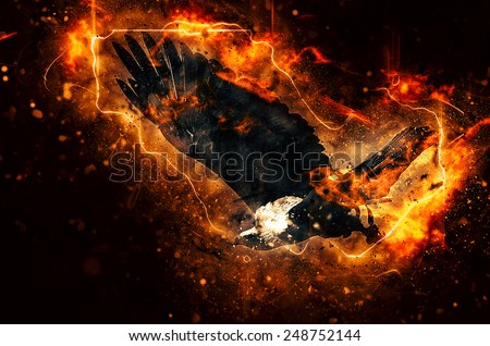 Illustration of a flying African fish eagle (Haliaeetus vocifer) with fire - stock photo