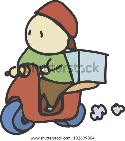 Illustration of a food delivery man - stock photo