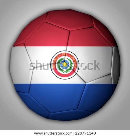 Illustration of a football with flag inside - Paraguay