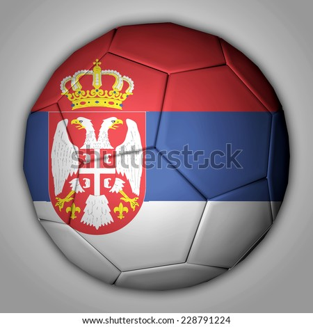 Illustration of a football with flag inside - Serbia - stock photo