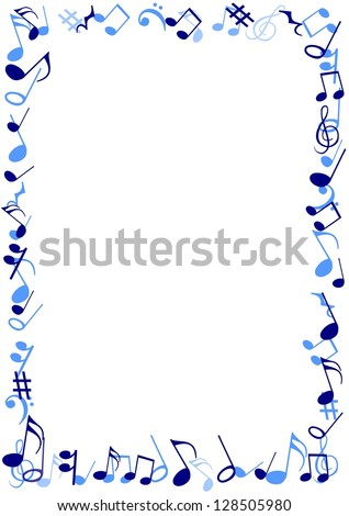 illustration of a frame made of blue musical notes - Music Note Picture Frame