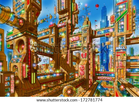 Illustration of a futuristic city of skyscrapers interconnected with each other at various levels by bridges and passageways with a blue sky background. - stock photo
