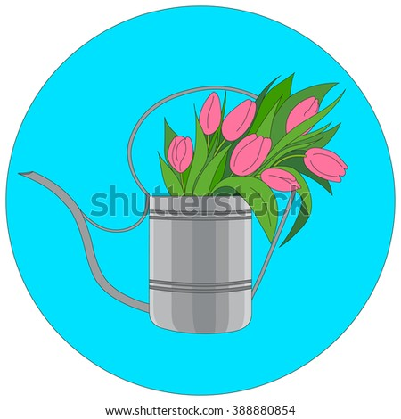 illustration of a garden watering can. Watering can filled with pink flowers tulips