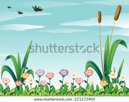 Illustration of a garden with fresh flowers and the birds in the sky