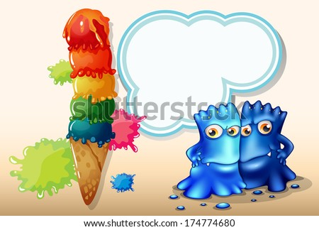 Illustration of a giant icecream beside the two blue monsters - stock photo