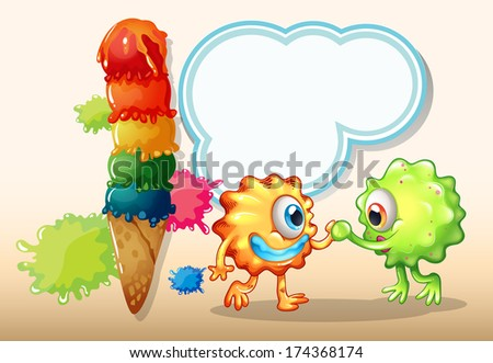 Illustration of a giant icecream near the two monsters with an empty callout - stock photo