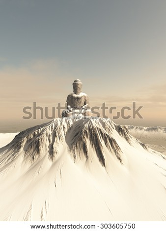 Illustration of a giant statue of Buddha on top of a lonely snow covered mountain peak, 3d digitally rendered illustration - stock photo