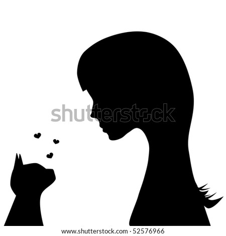 Illustration of a girl and a cat watching each other