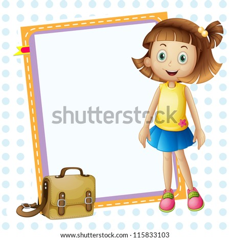 illustration of a girl and board with bag on white