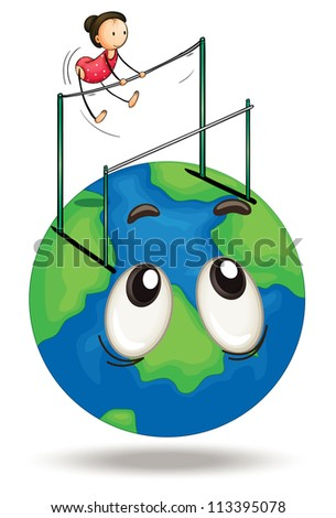 illustration of a girl and earth globe on a white - stock photo