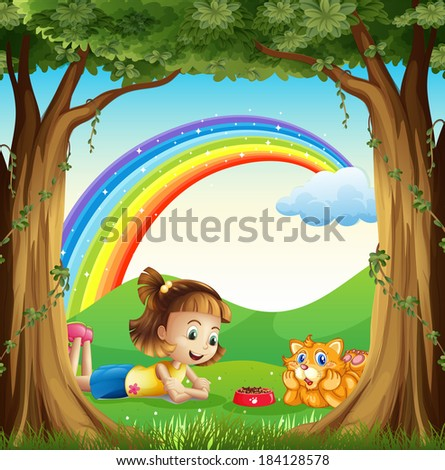 Illustration of a girl and her pet at the forest with a rainbow in the sky - stock photo