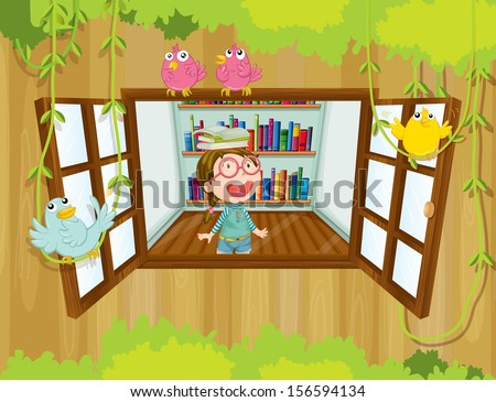 Illustration of a girl at the tree house with books above her head - stock photo