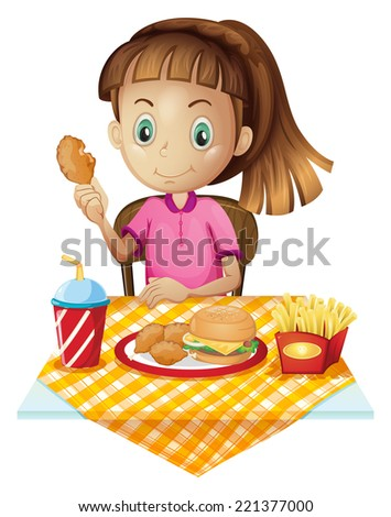 Illustration of a girl eating at the fastfood store on a white background - stock photo